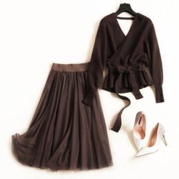 $enCountryForm.capitalKeyWord Australia - Women sexy kimono V-neck knit sweater tops backless belt Tops + mesh tutu skirts suits 2 piece set new 2019 brown khaki jc2811