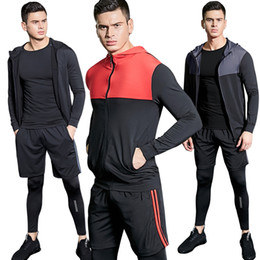 Athletic Suits Australia - 4pcs Sport Suit Men Men's Gym Training Fitness Sportswear Athletic Workout Clothes Suits Running Jogging Mens Sports Clothing Q190521