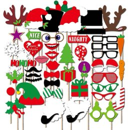 $enCountryForm.capitalKeyWord Australia - Christmas Party Photo Props Masks 5 Styles White Mustache Santa Claus Hats Candy Rabbit Antlers Glasses Tie Slogan Photo Booth Props wn601