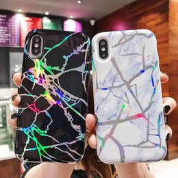 Clear patterned iphone 6s Case online shopping - TPU PC Double Protection Case For iPhone X XS XR XMAX Laser Marble Pattern Cover For iPhone s Plus Heavy Duty Protection