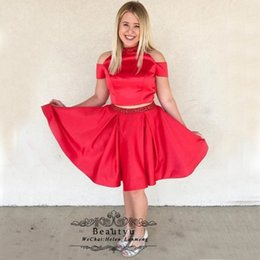 b142b3243db Cute Red Short Prom Dresses 2019 A Line High Neck Two Pieces Off The  Shoulder Crystals Satin Homecoming Party Dress Graduation Formal Gown