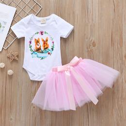 $enCountryForm.capitalKeyWord Australia - Baby Girls Bunny Onesies+Tutu Skirts Outfits Summer Baby Boutique Clothing Infant Toddlers Girls Rabbit Rompers Tutu 2 PC Set