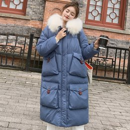 Ladies jacket korean styLe online shopping - 2019 New Arrival Winter Jacket Women Korean Style Oversize Loose Female Coat Hooded With Fur Warm Thicken Ladies Parka SH190917