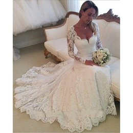 $enCountryForm.capitalKeyWord Australia - Vintage Long Sleeve Lace Wedding Dresses 2019 Elegant Bridal Gowns Custom Made Vestido De Noiva Com Renda
