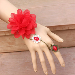 Black Lace Bracelet with Red RoseRing