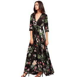 Chinese  Brand Long Maxi Dress Print Plus Size Sexy Casual Summer Beach Clothes Women Vestidos Render Elegant Robe Boho Party Club Dress Y19050805 manufacturers