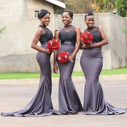 $enCountryForm.capitalKeyWord Australia - African Nigerian Mermaid Gray Bridesmaid Dresses Long 2020 Beaded Appliques Sleeveless Satin Prom Dress Wedding Party Gown