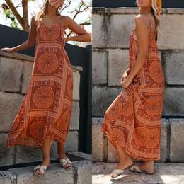 Wholesale beachwear dresses for women for sale – plus size Women Boho Stylish Vintage Floral Sleeveless Holiday Sea Long Maxi Dress Summer Beachwear Sundress Fashion for Good Friends