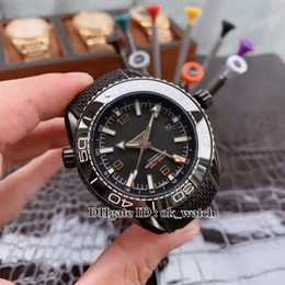 mens sports watches nylon strap NZ - NEW 45.5mm Ocean 600m GMT Automatic Mens Watch Ceramic Bezel 215.92.46.22.01.001 Gents sport watches Nylon rubber strap