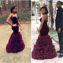 $enCountryForm.capitalKeyWord Australia - 2016 Sexy Burgundy Sweetheart Ruffles Organza Skirt Mermaid Evening Dresses Slim Fitted Formal Prom Gowns Women Party Dresses Pageant Gowns