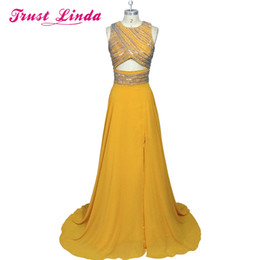 Wholesale photos crop tops for sale - Group buy Charming O Neck Crop Tops Party Dresses Fashion Side Split Floor Length Proes Prom Evening Gowns robe de soiree Dark Green Celebrity Dresses