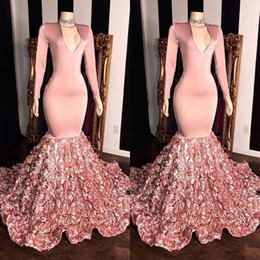 $enCountryForm.capitalKeyWord Australia - Pink V Neck Lace Mermaid Long Prom Dresses 2019 Vintage Plus-Size Long Sleeves Satin 3D Floral Sweep Train Formal Party Evening Gowns BC1341