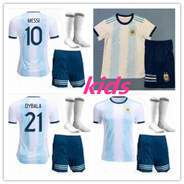 Wholesale kids kit Copa America Argentina Home soccer jersey Camisetas de futbol MESSI DYBALA HIGUAIN ICARDI football shirt uniform