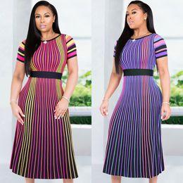 $enCountryForm.capitalKeyWord NZ - Summer Women Striped Print Midi Dress Casual Multi Short Sleeve Elastic High Waist Slim A Line Dress Purple Rose Red