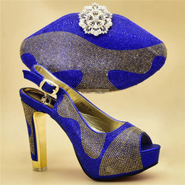 Shoe Purse Matching Australia - Italian Shoes with Matching Bags for Wedding Italy High Heels Women Wedding Shoes Decorated with Rhinestone Shoe and Purse Set