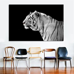 Art Canvas Prints Australia - 1 Piece Black and White Tiger Canvas Painting Wall Art Animal Pictures For Living Room Canvas Prints Modern Cuadros Decor No Frame