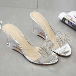 silver tie back hooks NZ - Slope Sandals Woman Sexy Summer Crystal Transparent High-heeled Shoes Rhinestone Slope Sandals