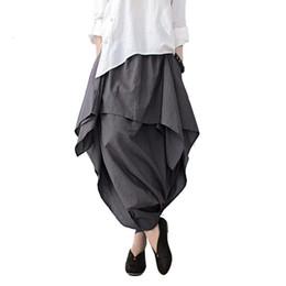 $enCountryForm.capitalKeyWord UK - Johnature 2019 New Women Wide Leg Loose Linen Cotton Asymmetric Pants Original Designer Plus Size Capris Elastc Waist Skirt J190620