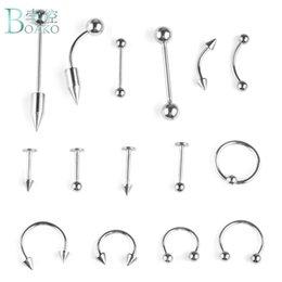 $enCountryForm.capitalKeyWord NZ - BOAKO 15PCS Set Stainless Steel Fashion Piercing Set Eyebrow Bar Lip Nose Pircing Ear Studs Stainless Steel Mixed Body Jewelry