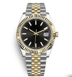 Champagne dial online shopping - Hot Sale Free SHIP Two Tone Stainless Steel Date Solid Bracelet Sapphire Black Dial mm Man Datejust Wristwatch Sports Mens Watches