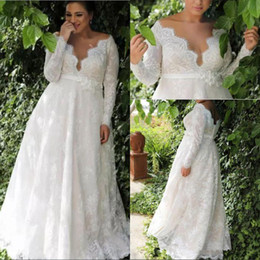Drop Waist Lace Wedding Dresses Straps Australia - Garden A-line Empire Waist Lace Plus Size Wedding Dress With Long Sleeves Sexy Long Wedding Dress For Plus Size Wedding