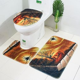 animal floor mats Australia - 3pcs Halloween Toilet Floor Mat Cartoon pumpkin Animal Pattern Bathroom Set Carpet Absorbent Non-Slip Pedestal Rug Lid Cover @10