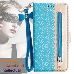 $enCountryForm.capitalKeyWord NZ - Zipper Lace Leather Wallet Case For Samsung Note 10 Pro S10 5G S10E A70 A50 A40 A30 J4 J6 Flower Money Pocket ID Slot Flip Cover+Bow Strap