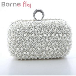 White bridal clutches online shopping - Berno fly Brand Fashion Women Evening Clutch Bag Gorgeous Pearls Crystal Beading Bridal Wedding Party Bags CrossBody Handbags D18110106