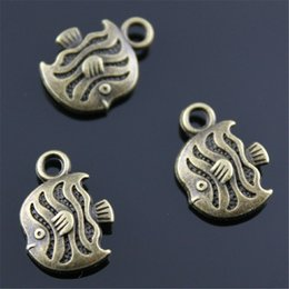 $enCountryForm.capitalKeyWord Australia - 100pcs Charm Tropical Fish Vintage Small Fish Charms For Jewelry Making Antique Bronze Color Tropical Fish Charms 11x15mm