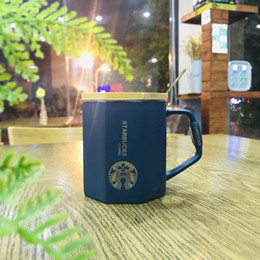 $enCountryForm.capitalKeyWord NZ - 2019 Hot Sell mugs Creative matte octagonal fashion atmosphere mug with bamboo lid spoon golden office gift Christmas coffee cup
