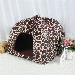 $enCountryForm.capitalKeyWord Australia - Cute Kennel Nest Fleece Cat Tent for Small Dog House Leopard Print Strawberry Design Nest Pet Supplies Mongolian Tent Cat Kennel