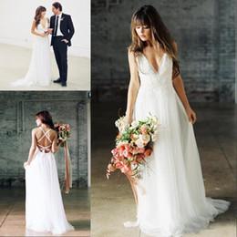 $enCountryForm.capitalKeyWord Australia - 2019 Sexy Boho Wedding Dresses V Neck Backless Floor Length Chiffon Simple spaghetti Beach Bridal Gowns With Lace