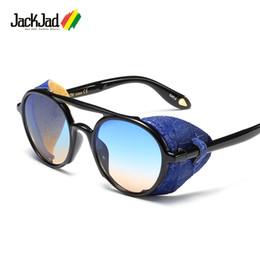 201197347f803 Discount sunglasses side shields - JackJad 2019 Cool Fashion SteamPunk  Style Round Sunglasses Leather Side Shield