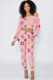 Wholesale sexy suits t resale online – new Brand design women tracksuits sexy Slash Neck colour Letter print T shirt pants Suit two pieces sets Sports suit outfit Pink