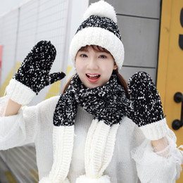 $enCountryForm.capitalKeyWord Australia - 3 Peices Hat Gloves Scarf Set 201909 Knit Soft Pompom Beanies Winter Warm Hats Knitted Scarf Christmas Gift for Women Girl 7 Colors M339F
