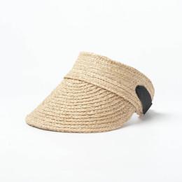 3648ef9741a74 Ladies Straw Visor Hat Australia - Sun Visor Packable Women s Summer Vacation  Hats 2019 Ladies Straw