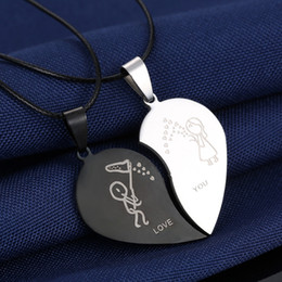 Pendants Sets Australia - 2Pcs Set Cute Couples Necklaces Animal Cat Heart Pendants Chain Necklace Jewelry Gift New