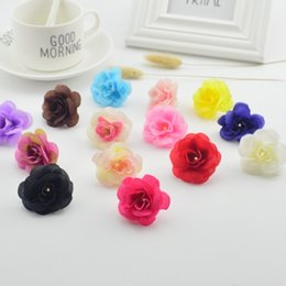 cheap garlands UK - 10 Pcs Cheap Artificial Rose Head Diy Handmade Garland Material Flower Ball Wedding Flower Wall Set Decorative Flower