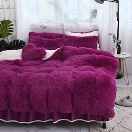 pink ruffle bedding 2019 - 4Pcs Thickened double faced pile up luxury bedding sets queen king size duvet cover set bed skirt set pillowcase bedclot