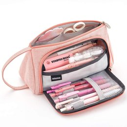 linen cosmetic bags cases Australia - Multifunctional large capacity cosmetic bag candy cotton linen Korean simple stationery bag small fresh pencil bag