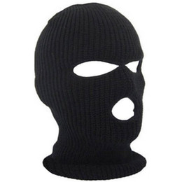 $enCountryForm.capitalKeyWord Australia - 3 Holes Face Ski Mask Balaclava Black Knit Hat Face Shield Beanie Cap Snow Warm Hiking Caps Mens Womens Winter Balaclava Hood