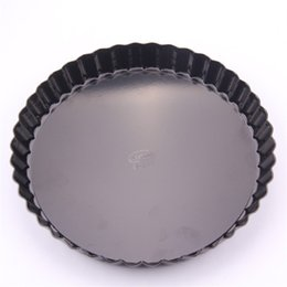 Baking dishes online shopping - Cake Baking Pans Black Live Bottom Chrysanthemum Pie Tray Inches Anti Wear Hot Sale am4I1