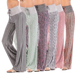 $enCountryForm.capitalKeyWord UK - Spring 2019 New European and American Women's Fashion Sports Yoga Stripe High-waist Broad-legged Pants Foreign Trade Women's Pants