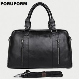 Man Leather Travel Bags NZ - Genuine Leather Travel Bag Men Vintage Travel Duffel bag big Cow Leather Carry On Luggage Weekend large shoulder LI-2341