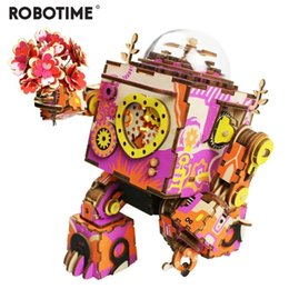 $enCountryForm.capitalKeyWord Australia - Robotime Limited Edition Colorful Robot Wooden Diy 3d Puzzle Game Steampunk Music Box Toy Gift For Children Lover Friends Y19070503
