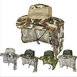 uv hat neck protection NZ - Camouflage Hat Boonie Bucket hats Mesh Military cap Ear Flap Neck Cover UV Sunscreen Outdoor Fishing Camping Hunting hat