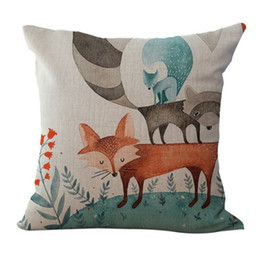 wholesale fox cushion covers UK - Square Animal Series Cartoon Style Lovely Red Fox Throw Pillow Case Covers Cushion 18x18 Inches