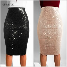 orange shiny skirt UK - Sexy Sequined Glitter Knee Length Skinny Pencil Skirt Elastic High Waist Nightclub Party Bling Shiny Skirt Package Hip Slim New