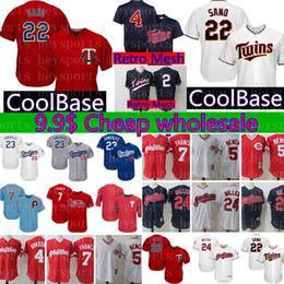 c382aabb3 22 Miguel Sano Minnesota Twins Jersey 4 Paul Molitor 2 Brian Dozier Retro  Mesh Baseball Jerseys Cheap wholesale Blue White Red M-XXXL
