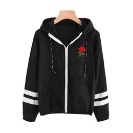 Wholesale varsity jacket black sleeves for sale – winter Varsity Striped Zip Up Hooded Women Jacket and Coat Basic Women Denim Clothes Zipper Jacket Black Embroidery Short Jacket Outerwear